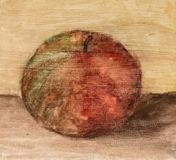Apple on a table - still life, Isabelle Ramsay, Watercolour