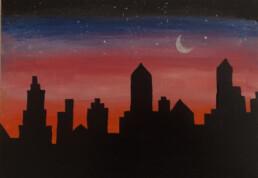 City during Sunset, Sharmila Begum, Acrylic painting on canvas