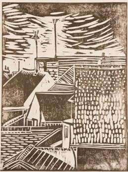 Rooftop View, Diane Morrison, Japanese Woodblock Print